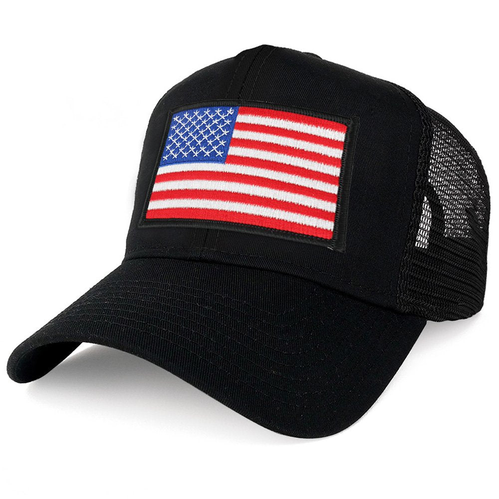 fc1d7626363 Armycrew XXL Oversize White Black Border USA Flag Patch Mesh Back Trucker  Baseball Cap