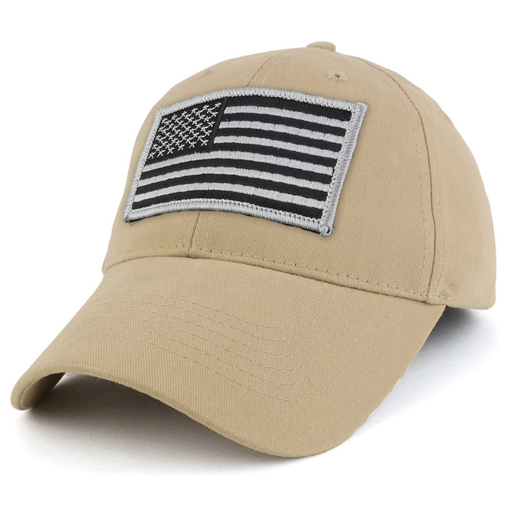 USA American Flag Embroidered Subdued GREY Tactical Patch with Adjustable  Operator Cap 097292118