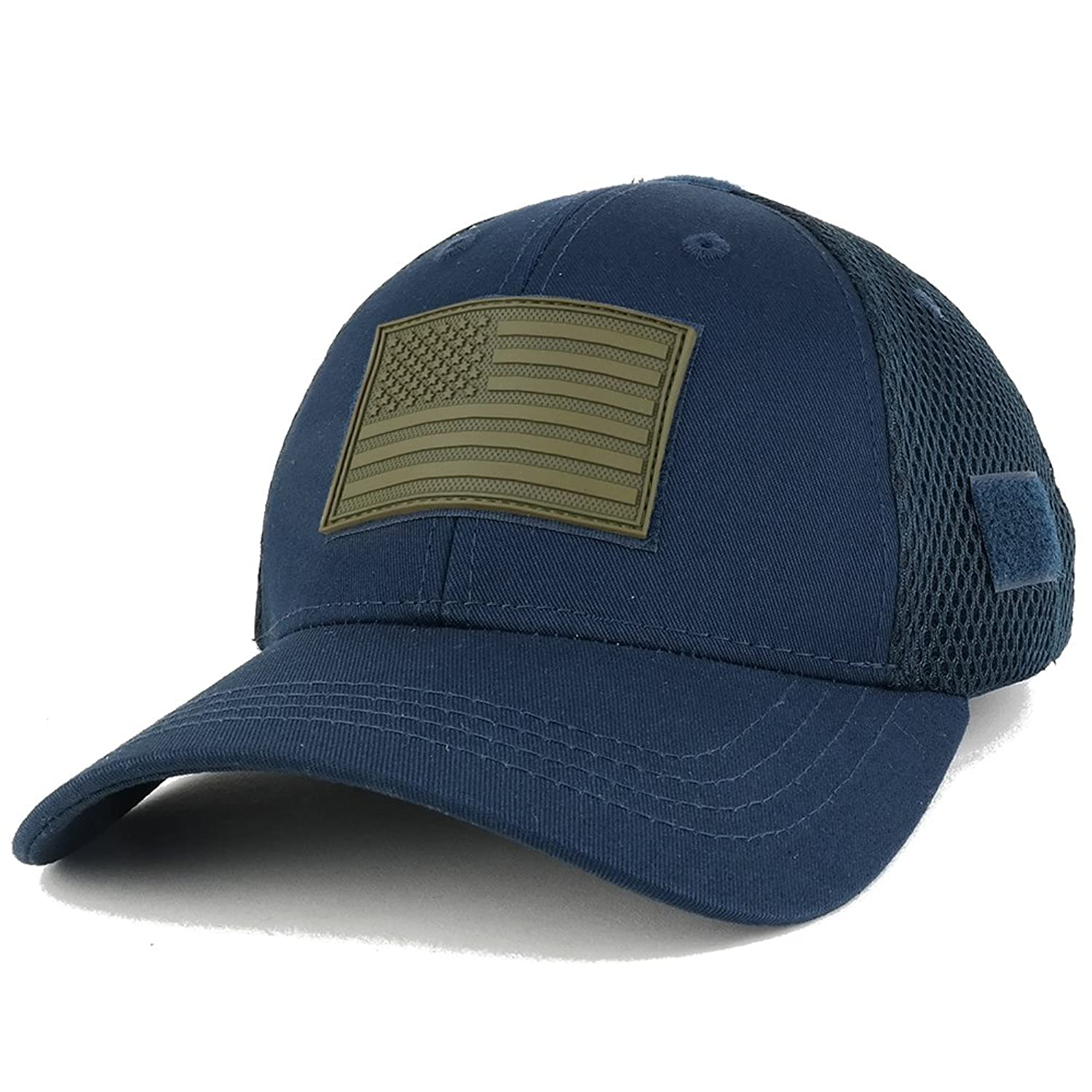 US American Flag OLIVE 2 Rubber 3D Tactical Patch Low Crown Adjustable Mesh  Cap 970a2c7937f