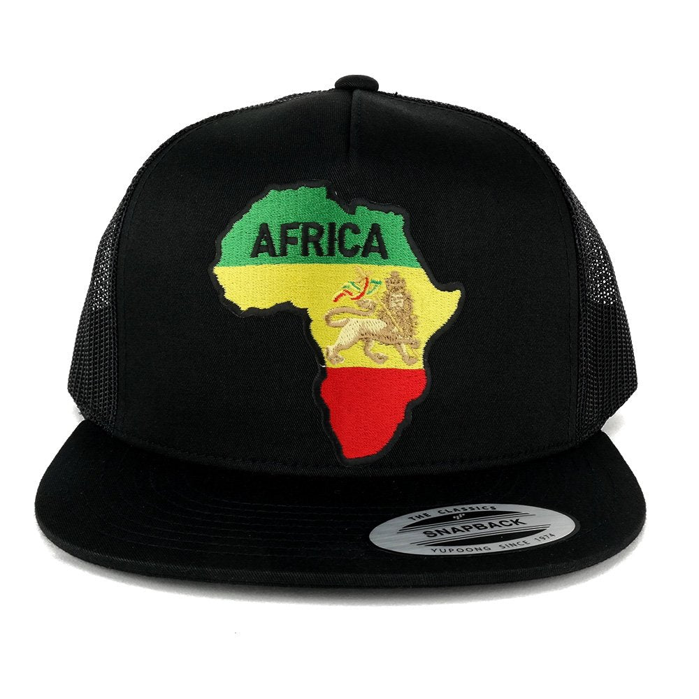 3848b55fb 5 Panel RGY Africa Map and Rasta Lion Embroidered Patch Flat Bill Mesh  Snapback