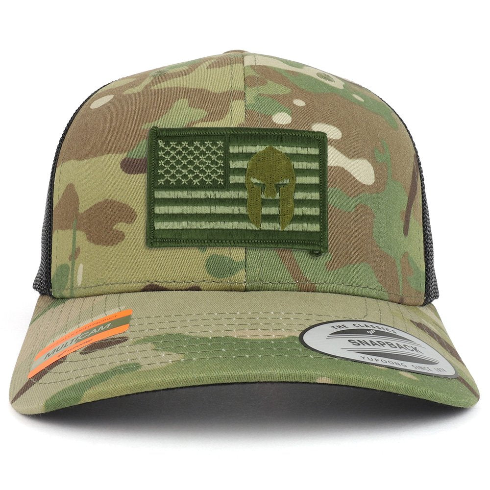 Armycrew Olive USA Flag Spartan Patch Camouflage Structured Trucker Mesh  Baseball Cap e9767319323