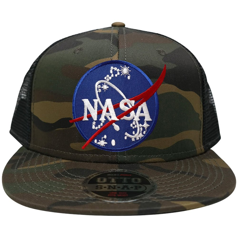 9f93b759867391 NASA Space Insignia Embroidered Patch Logo Adjustable Trucker Cap -  Armycrew.com