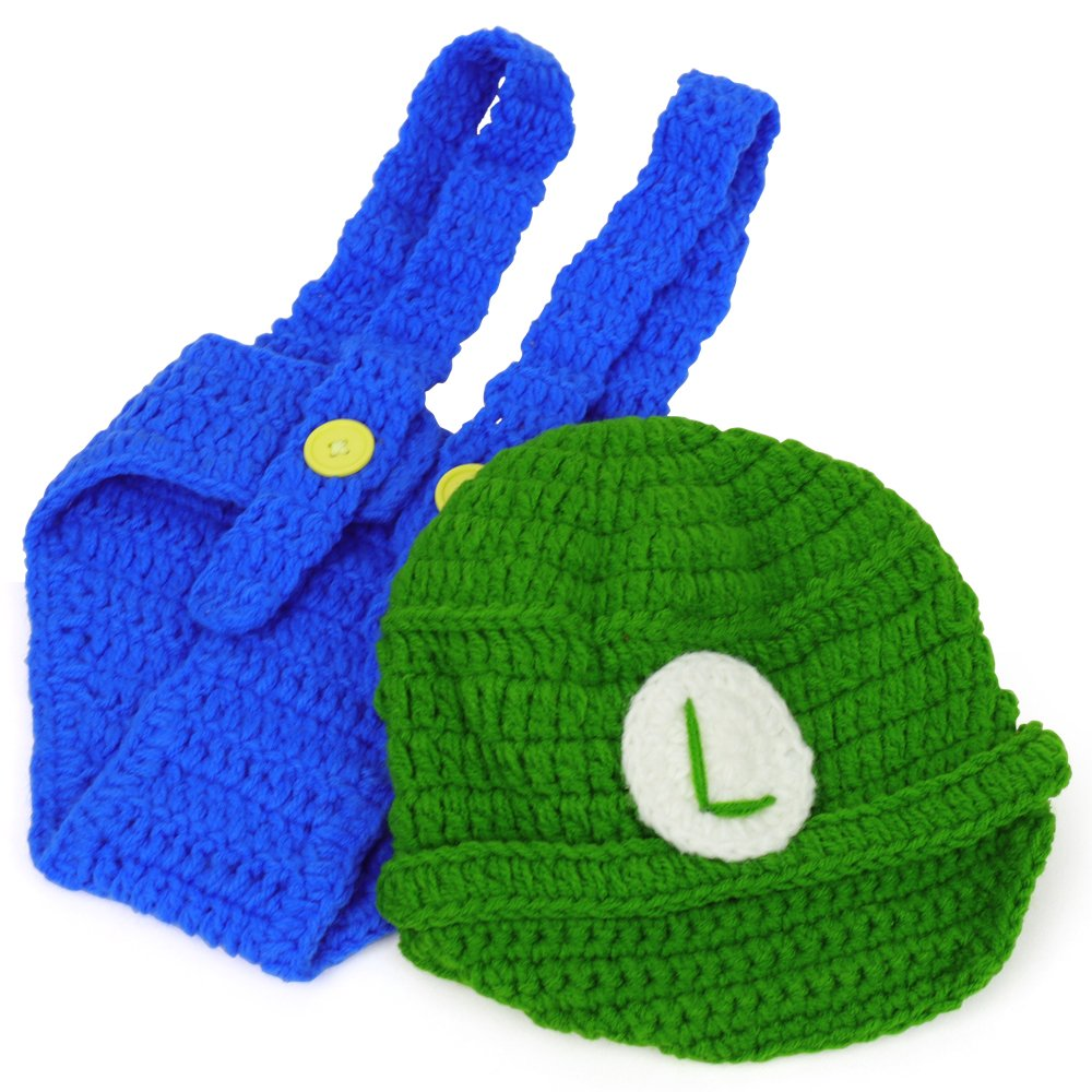 Mario And Luigi Infant 2 Piece Outfit Crochet Hat And Pants