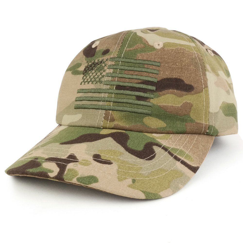 Armycrew Low Profile Soft Crown Tactical Operator Cap With American  Embroidered Flag