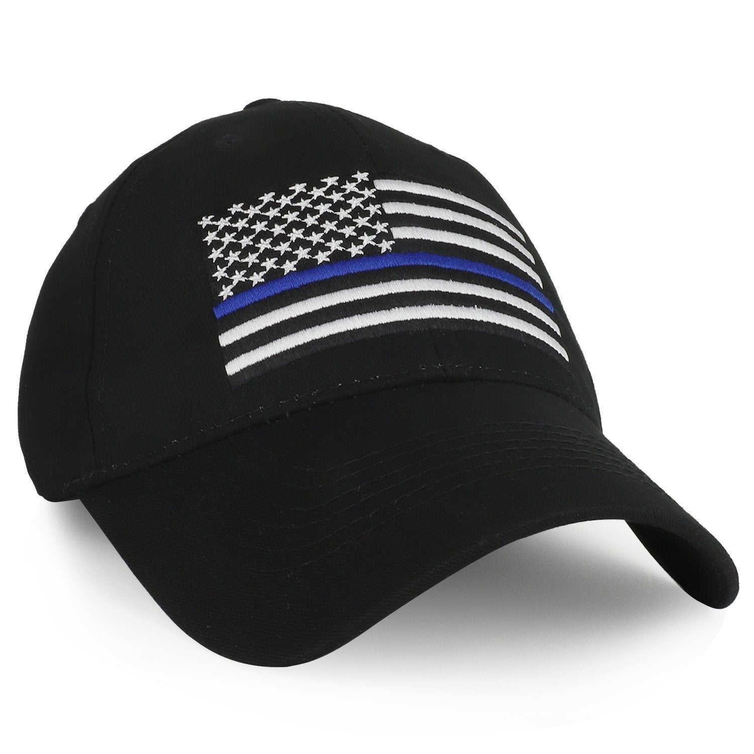 6a391d0c508 Armycrew Law Enforcement US Thin Blue Line Flag Embroidered Baseball Cap