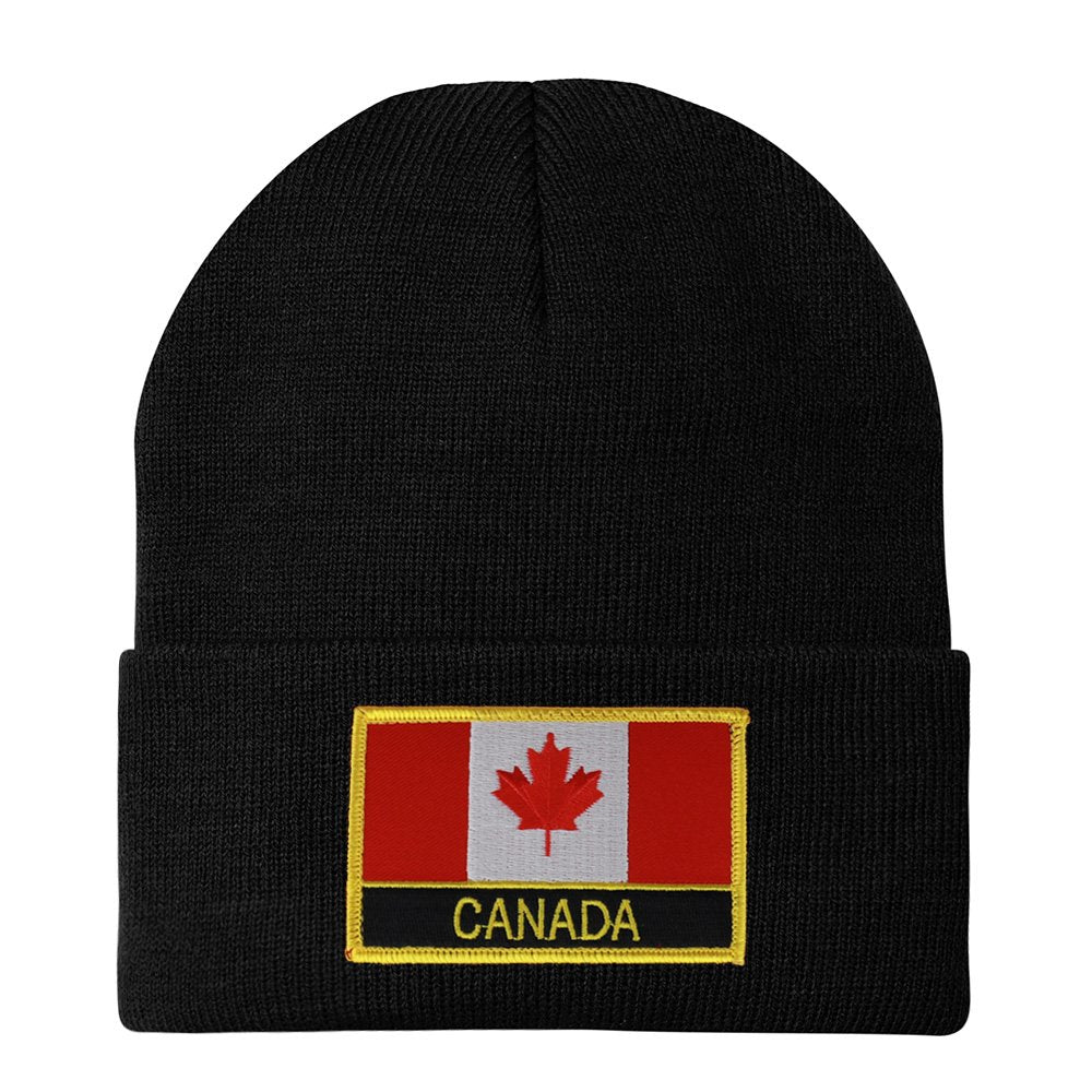 c98bb24828f Made in USA - CANADA Flag Embroidered Patch Winter Long Cuff Beanie -  Armycrew.com