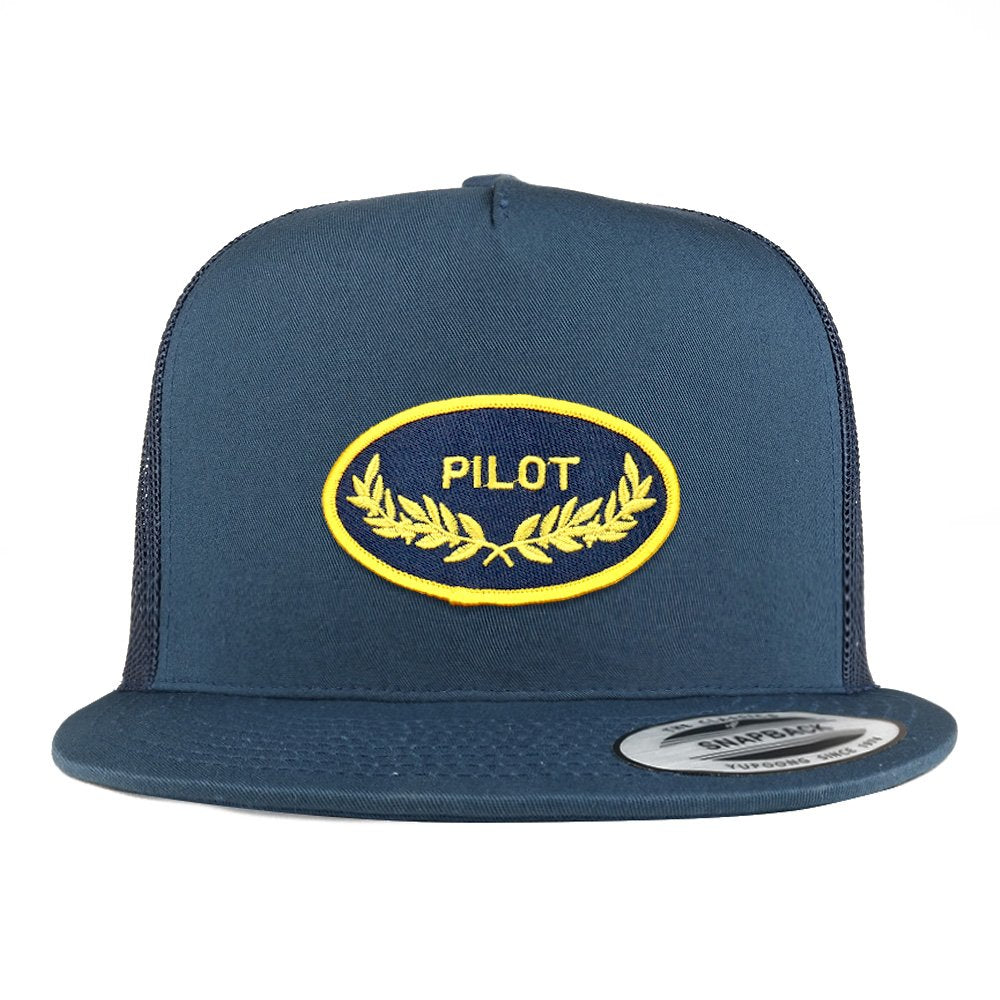 3234cbc212b6 Armycrew 5 Panel Pilot Oak Leaf Oval Embroidered Patch Flatbill Mesh  Snapback