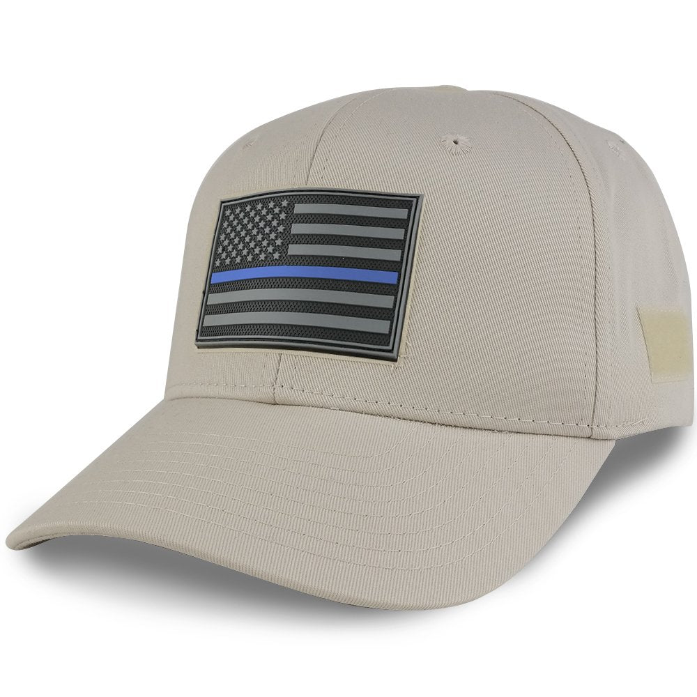 99dd39bb7 Thin BLUE Line USA Flag 3-D Rubber Tactical Patch Adjustable Structured  Operator Cap