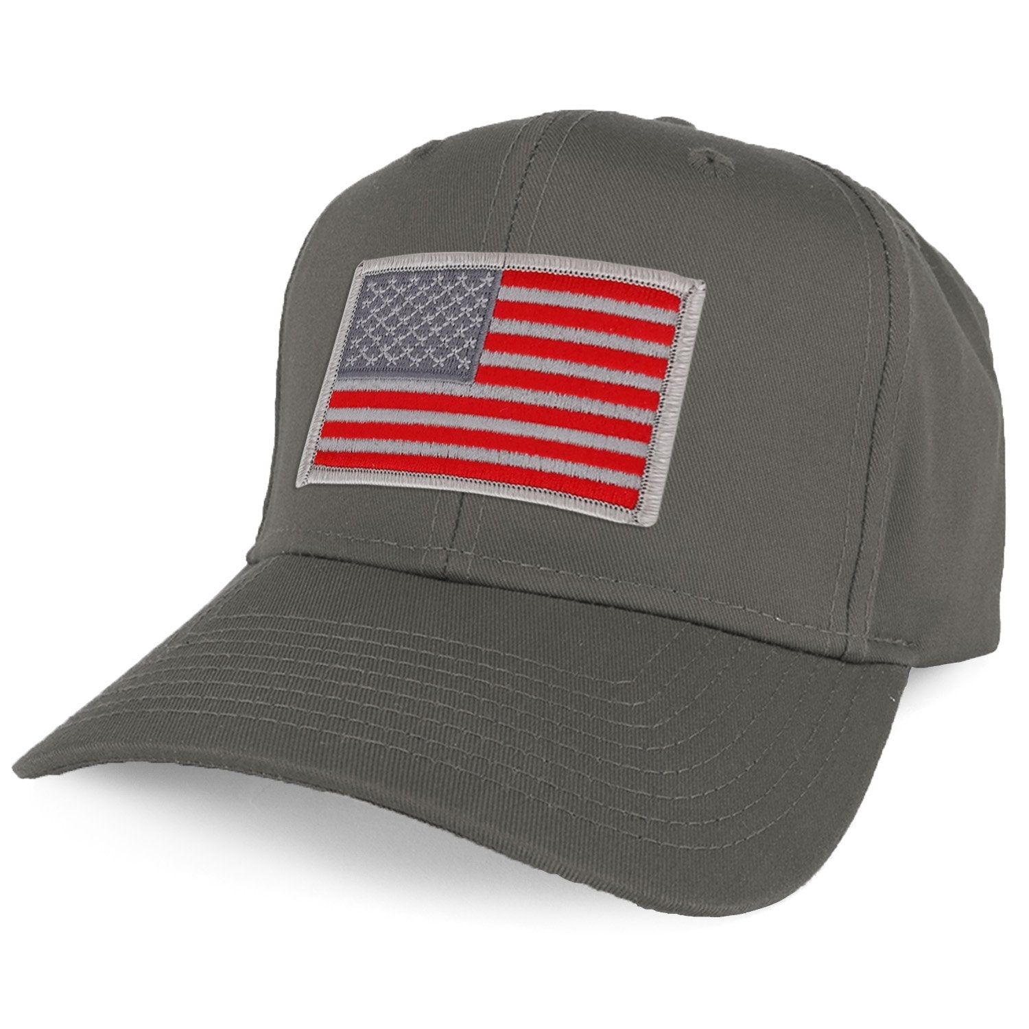 810aafa2642 Armycrew XXL Oversize Red Grey USA American Flag Patch Solid Baseball Cap