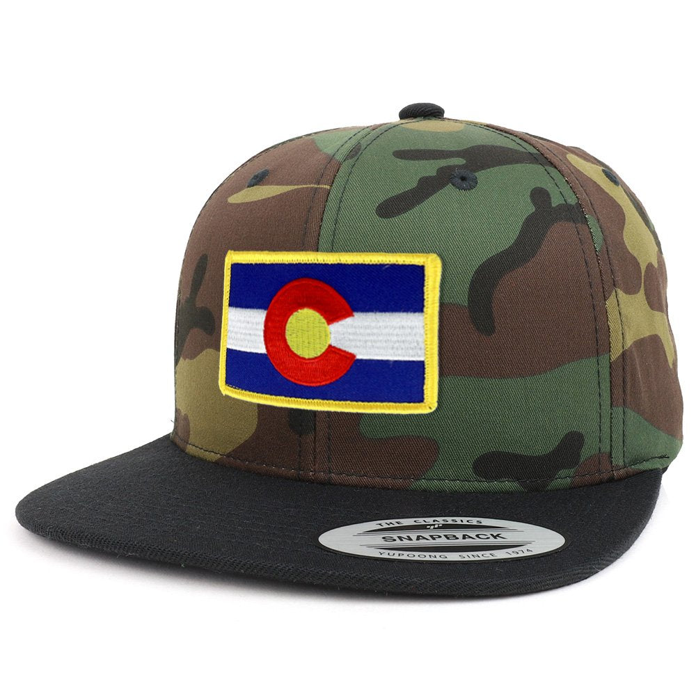 3215e978c Armycrew Colorado State Flag Patch Two Tone Camo Black Flatbill Snapback  Baseball Cap