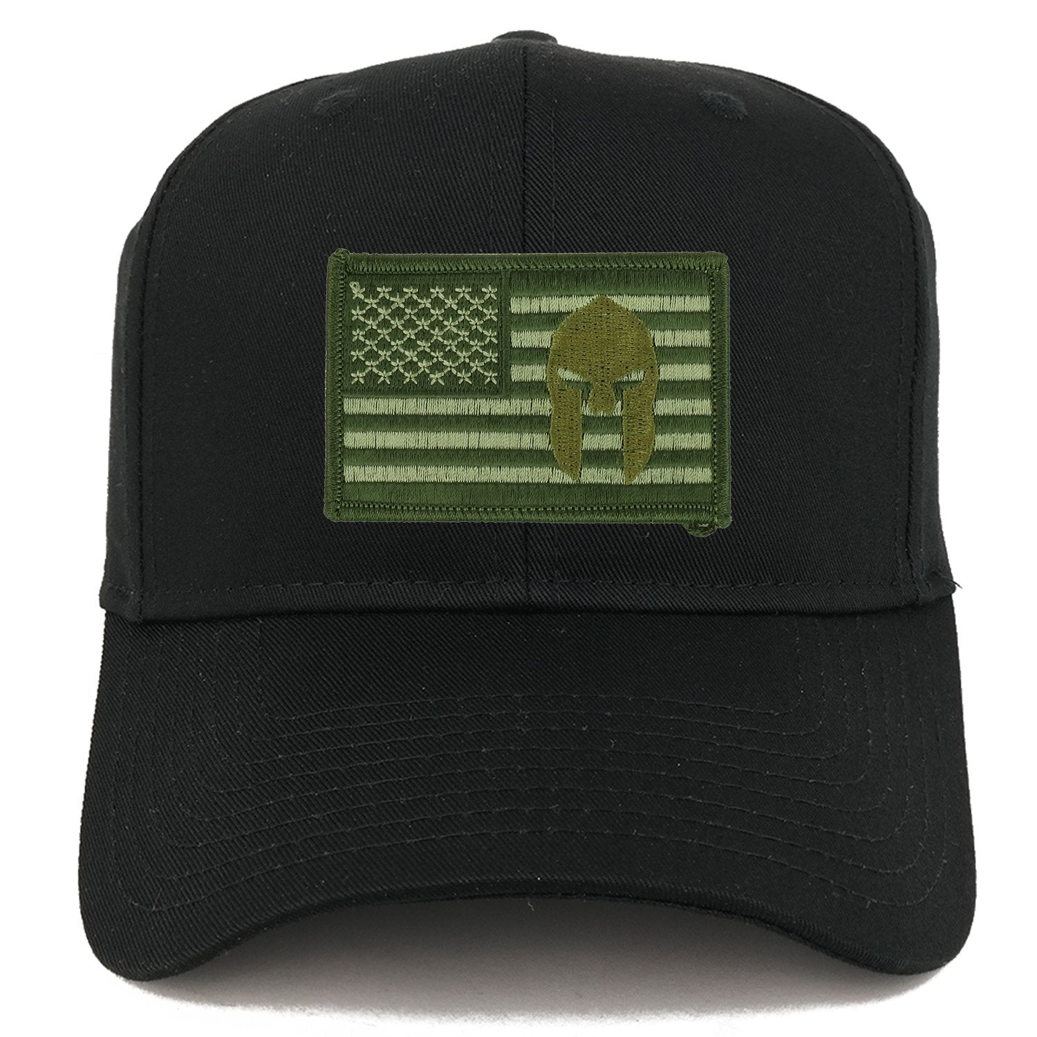 0239394b Armycrew Olive USA American Flag Spartan Logo Embroidered Iron On Patch  Snap Back Cap