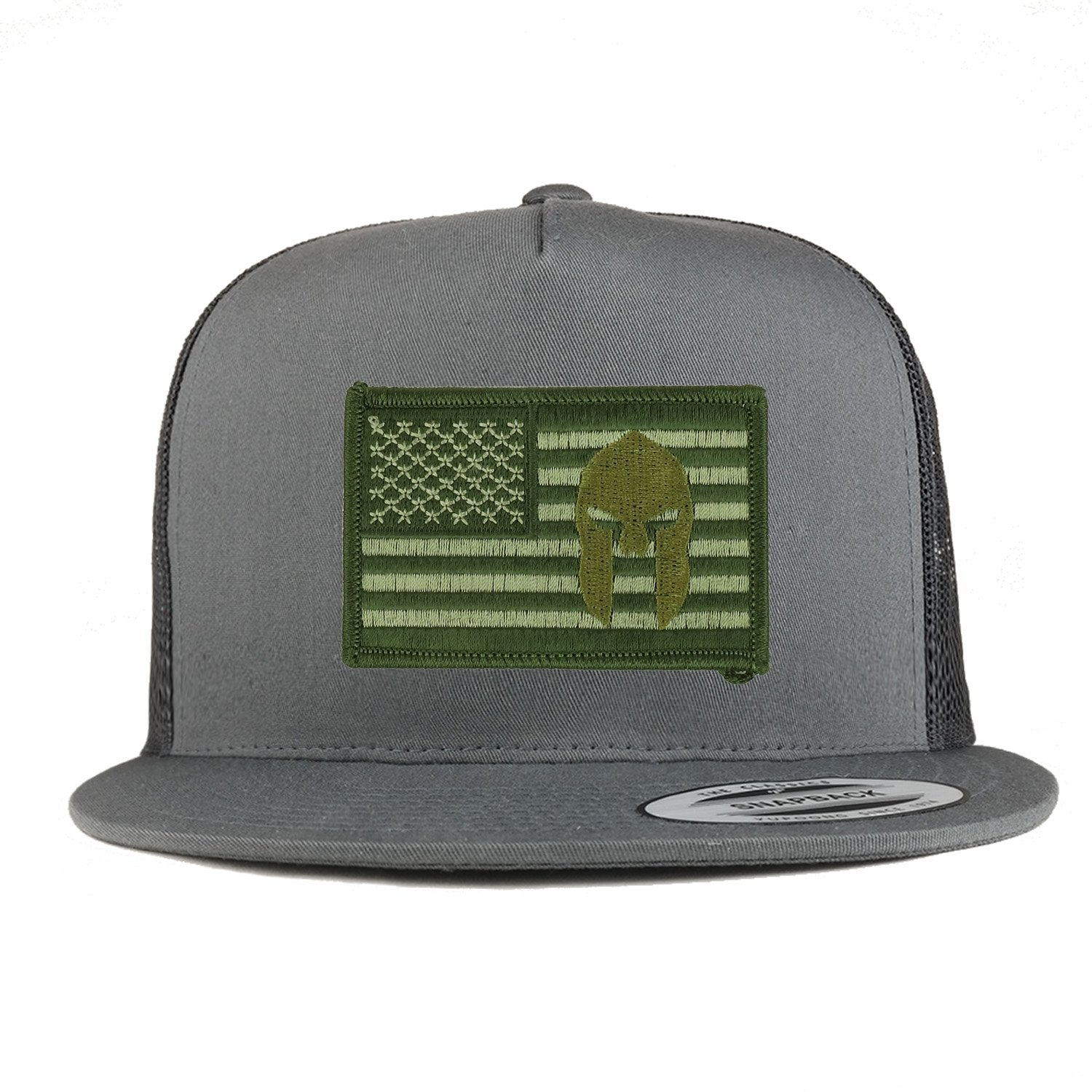 Armycrew 5 Panel Olive USA Flag Spartan Logo Embroidered Patch Flatbill  Mesh Snapback d368b35a390