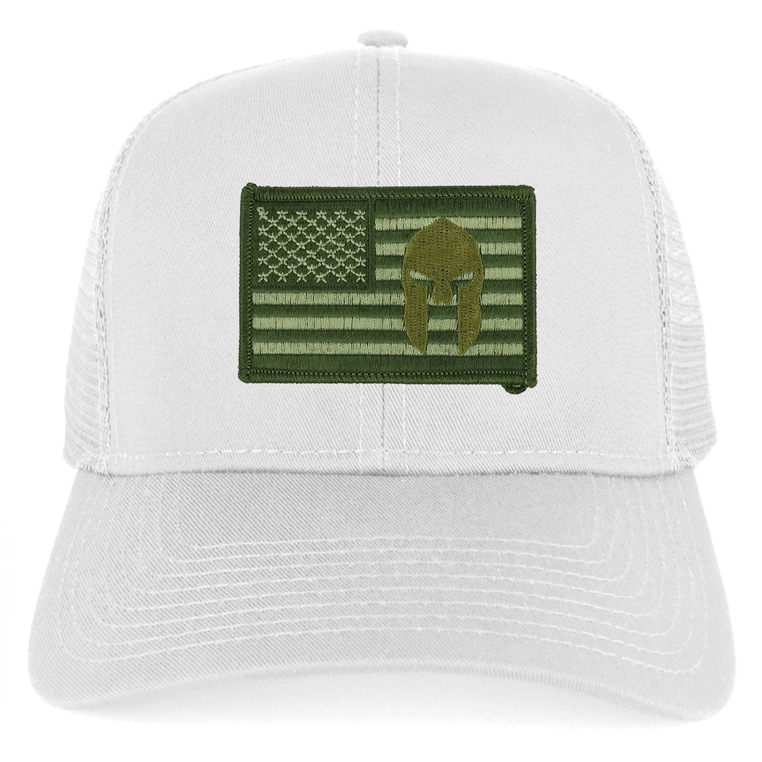 3f712955870a14 Armycrew Olive USA Flag Spartan Embroidered Patch Snapback Mesh Trucker Cap