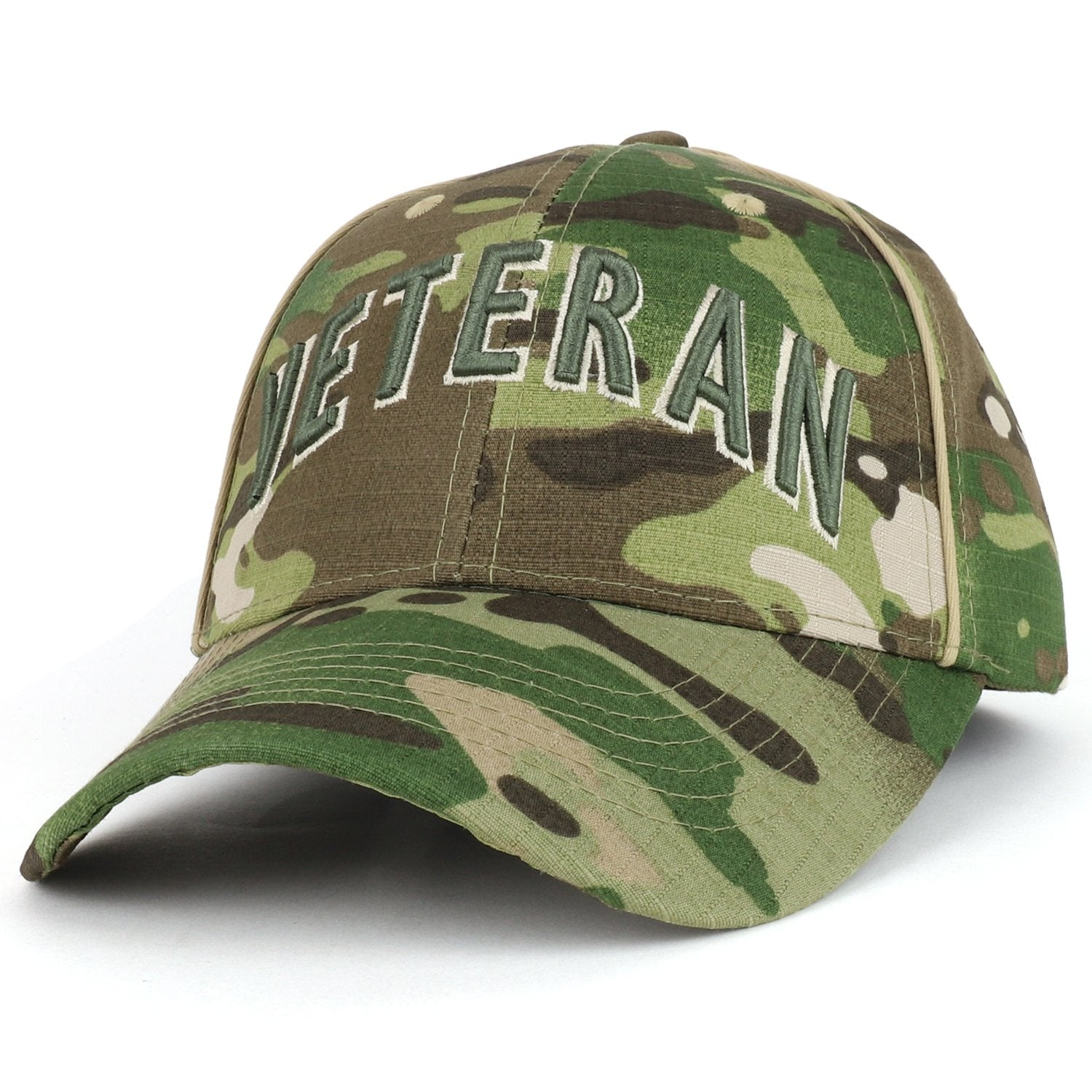 78e83893fb4 Armycrew Veteran Font 3D Embroidered Camouflage Print Structured Baseb -  Armycrew.com