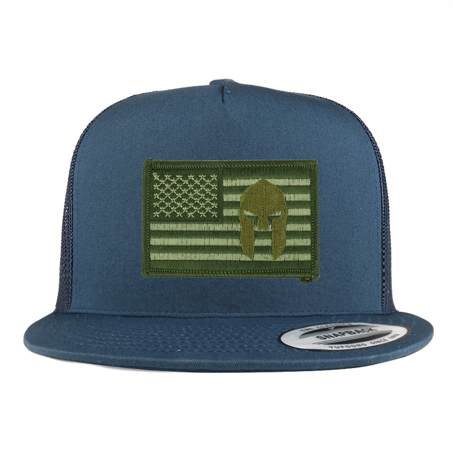 Armycrew 5 Panel Olive USA Flag Spartan Logo Embroidered Patch Flatbill  Mesh Snapback 400f8599a36
