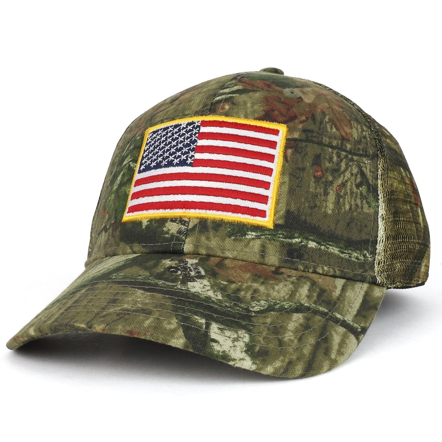 Armycrew USA Flag Patch Embroidered Mossy Oak Break Up Trucker Mesh Cap 89559e134f49