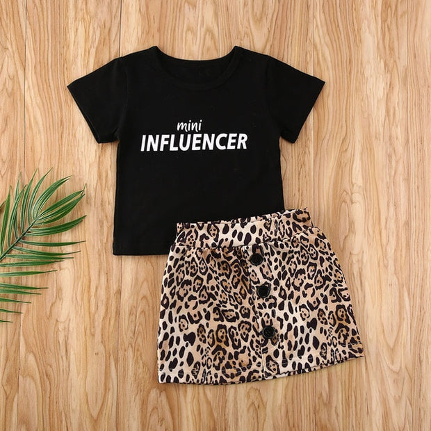 Mini INFLUENCER printed T-Shirt + Mini Leopard Skirt Set