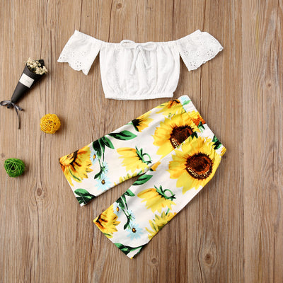 2PCS Lace White Top & Trousers Sunflower Outfit