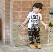 T-shirt Top & Camouflage Long Pants