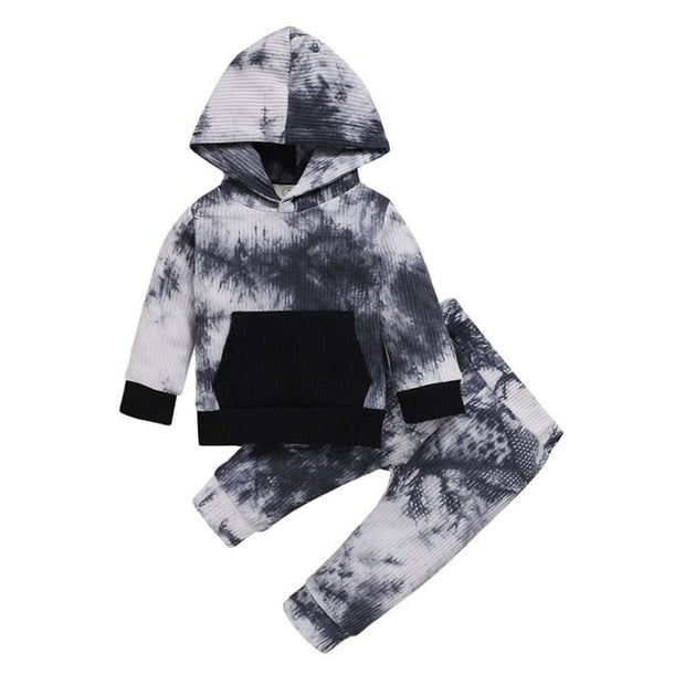 Baby Boy Tie Dye Printed Long Sleeve Hoodie set