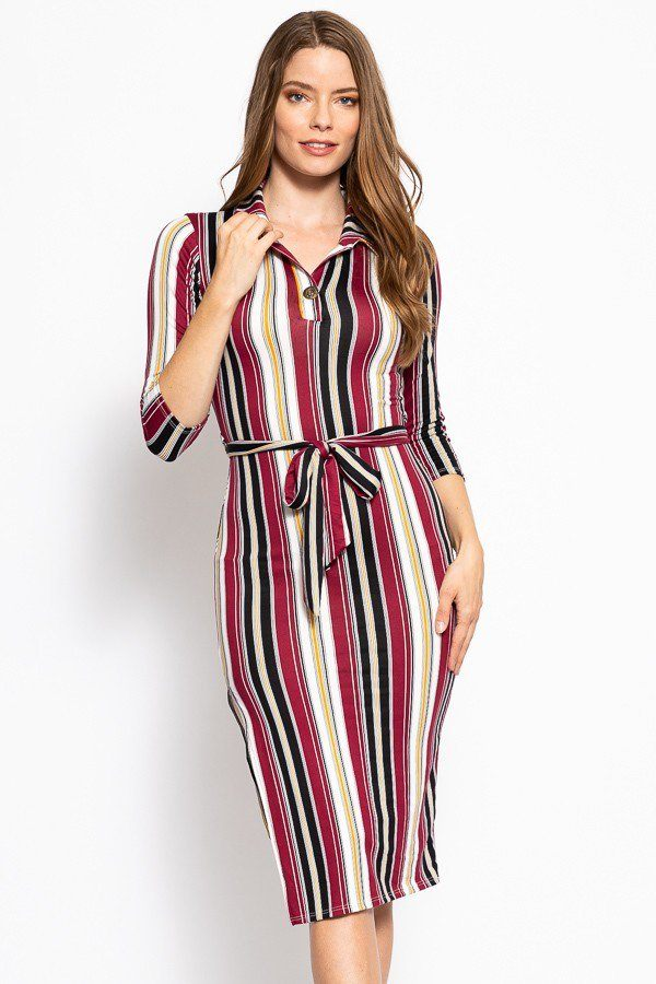 Print Dress - Stripes Print, Midi Tee Dress With 3/4 Sleeves, Collared V Neckline, Decorative Button, Matching Belt And A Side Slit - Local Scenes