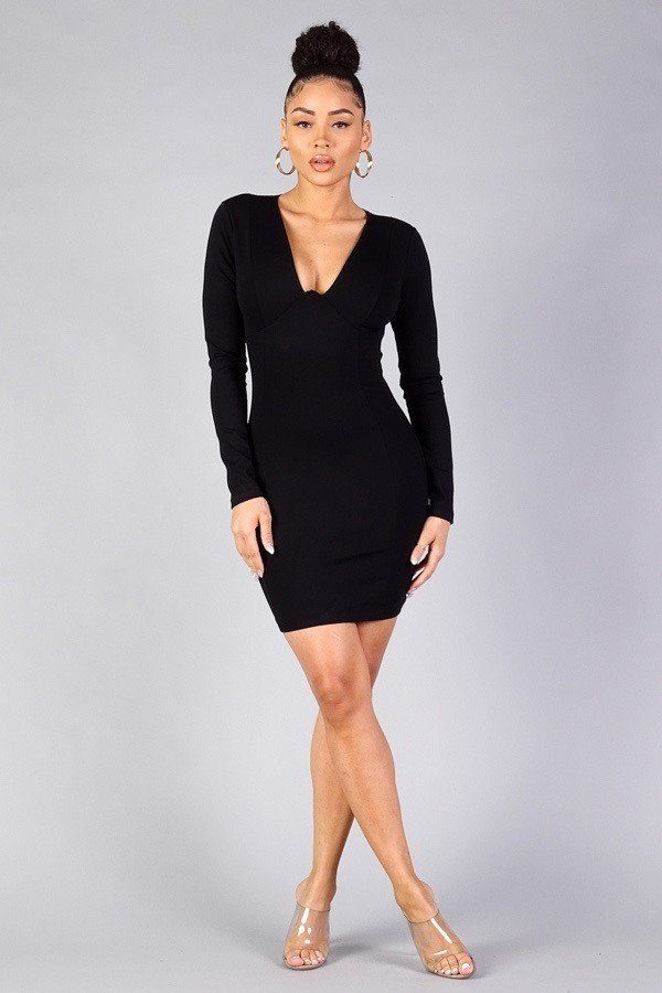 Black Dress - Sexy Long Sleeve Underwire Bodycon Mini Dress - Local Scenes