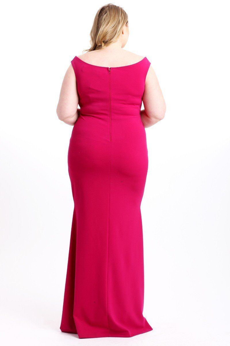 Pink Dress - Techno Crepe Stretch Off The Shoulder Dress - Local Scenes