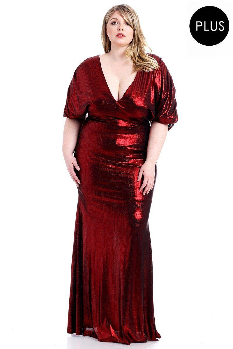 Red Dress - Metallic Ribbed Deep V-neckline Dress - Local Scenes