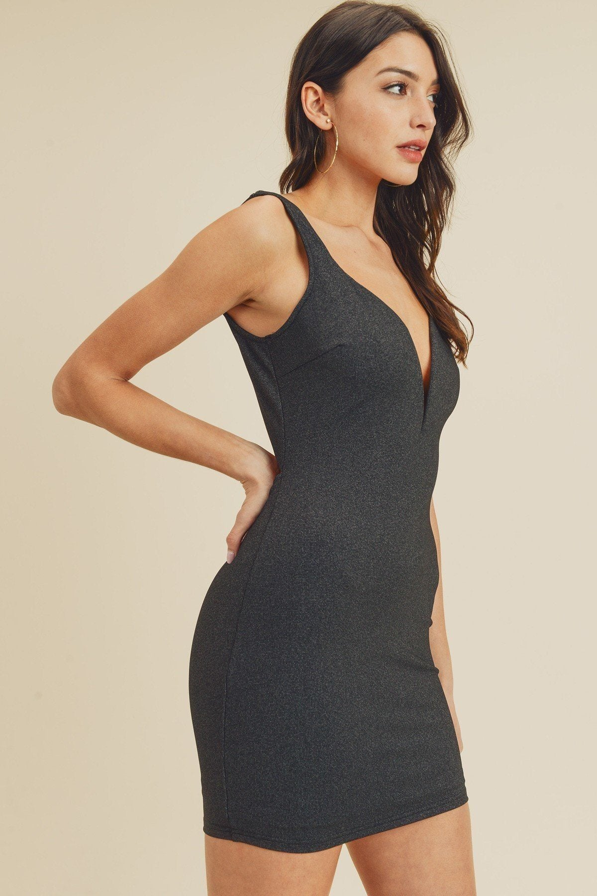 Black Dress - Open Back Plunging V-neck Bodycon Dress - Local Scenes