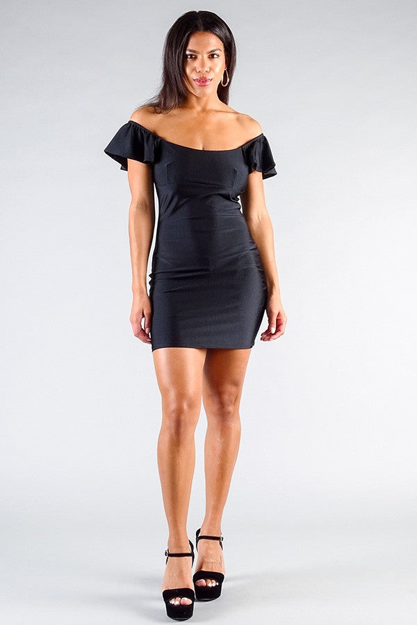 Black Dress - Convertible Off Shoulder Ruffle Sleeve Bodycon Mini Dress - Local Scenes