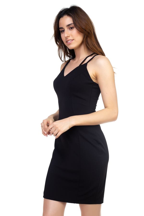 Black Dress - Crisscross Double Spaghetti Dress - Local Scenes