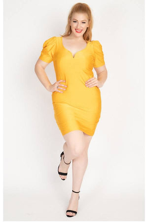 Yellow Dress - Satin Puff Sleeves Mini Dress - Local Scenes
