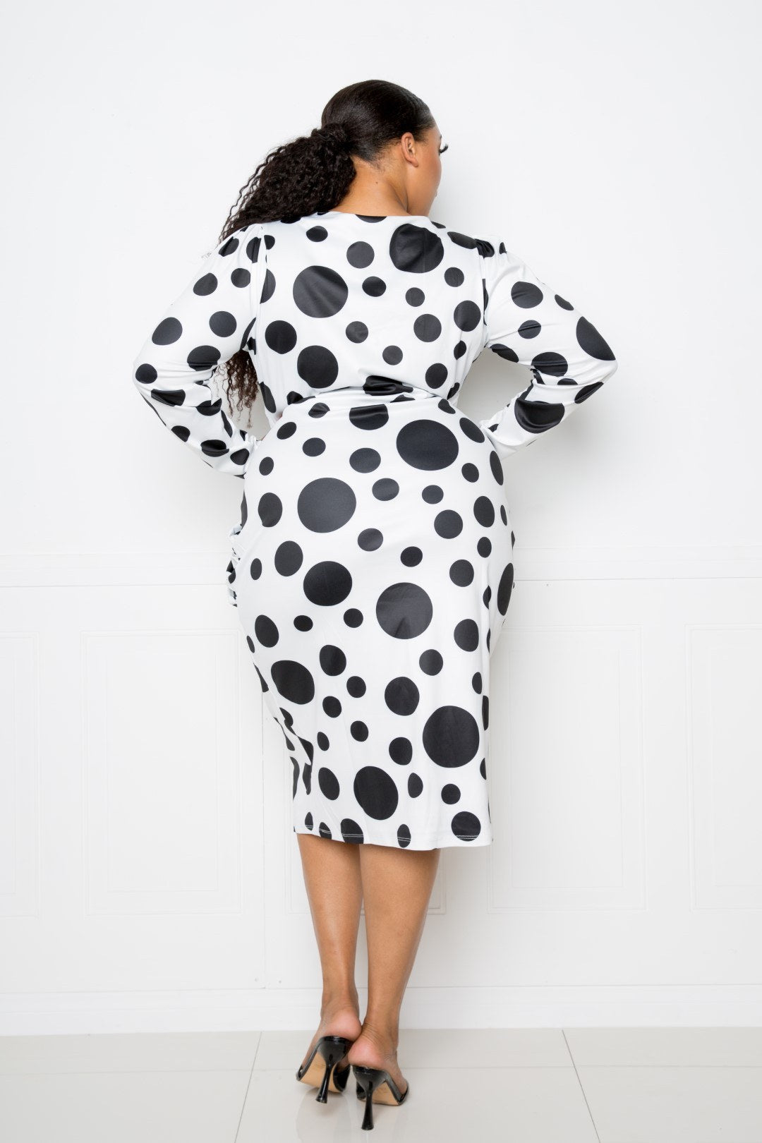 Print Dress - Polka Dot Drop Waist Ruched Midi Dress - Local Scenes