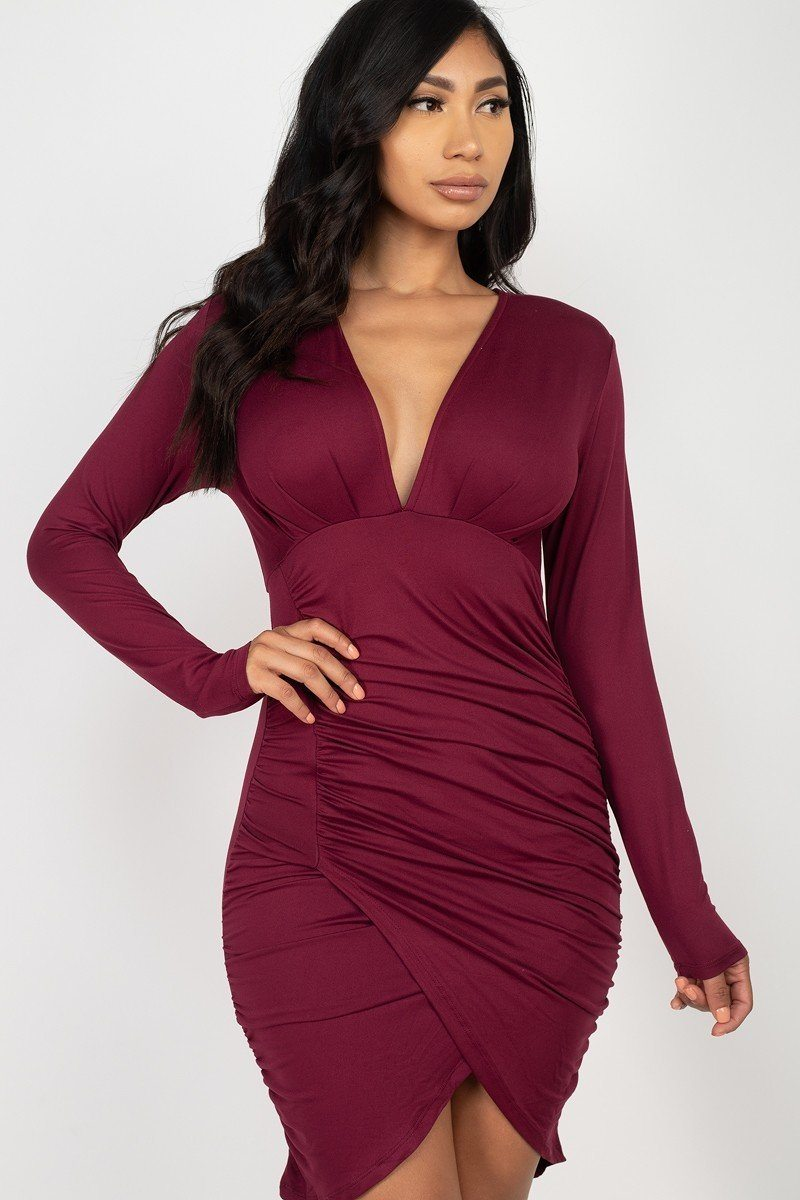 Red Dress - Ruched Wrap Bodycon Dress - Local Scenes
