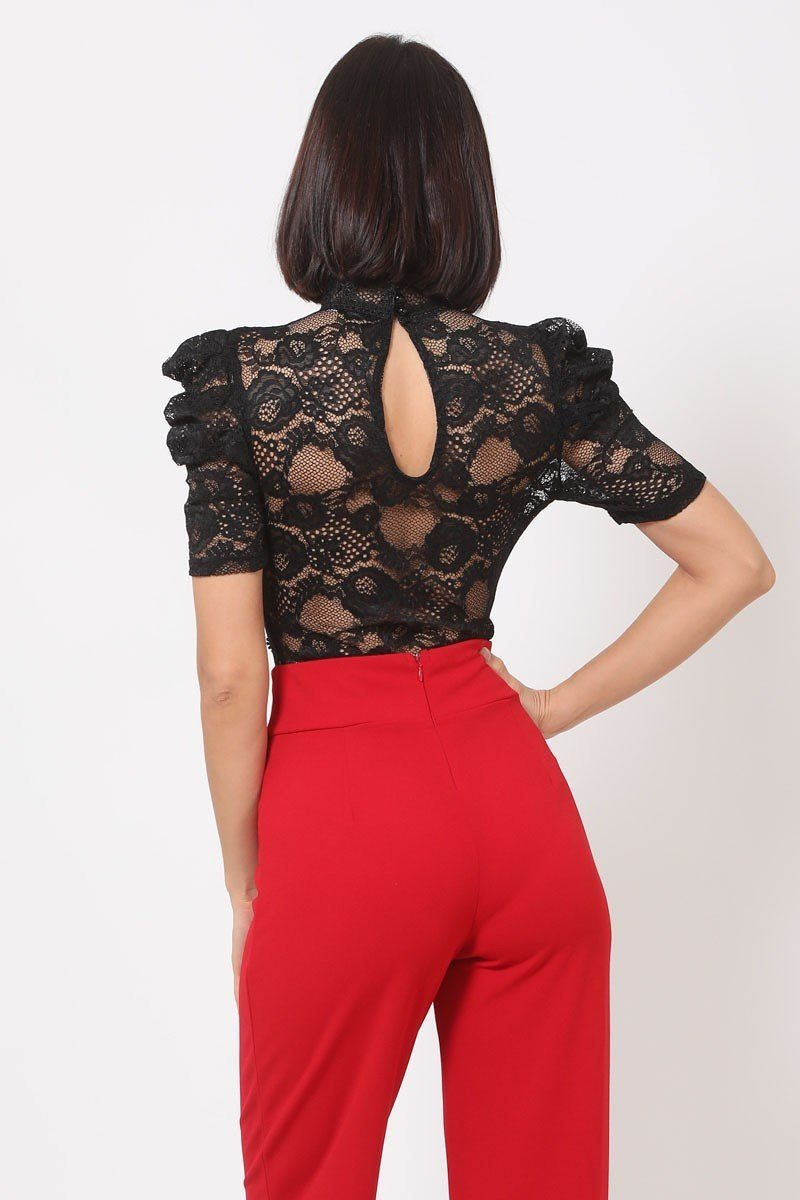 Bodysuit Lace Bodysuit W/front Key Hole Opening Details - Local Scenes Store
