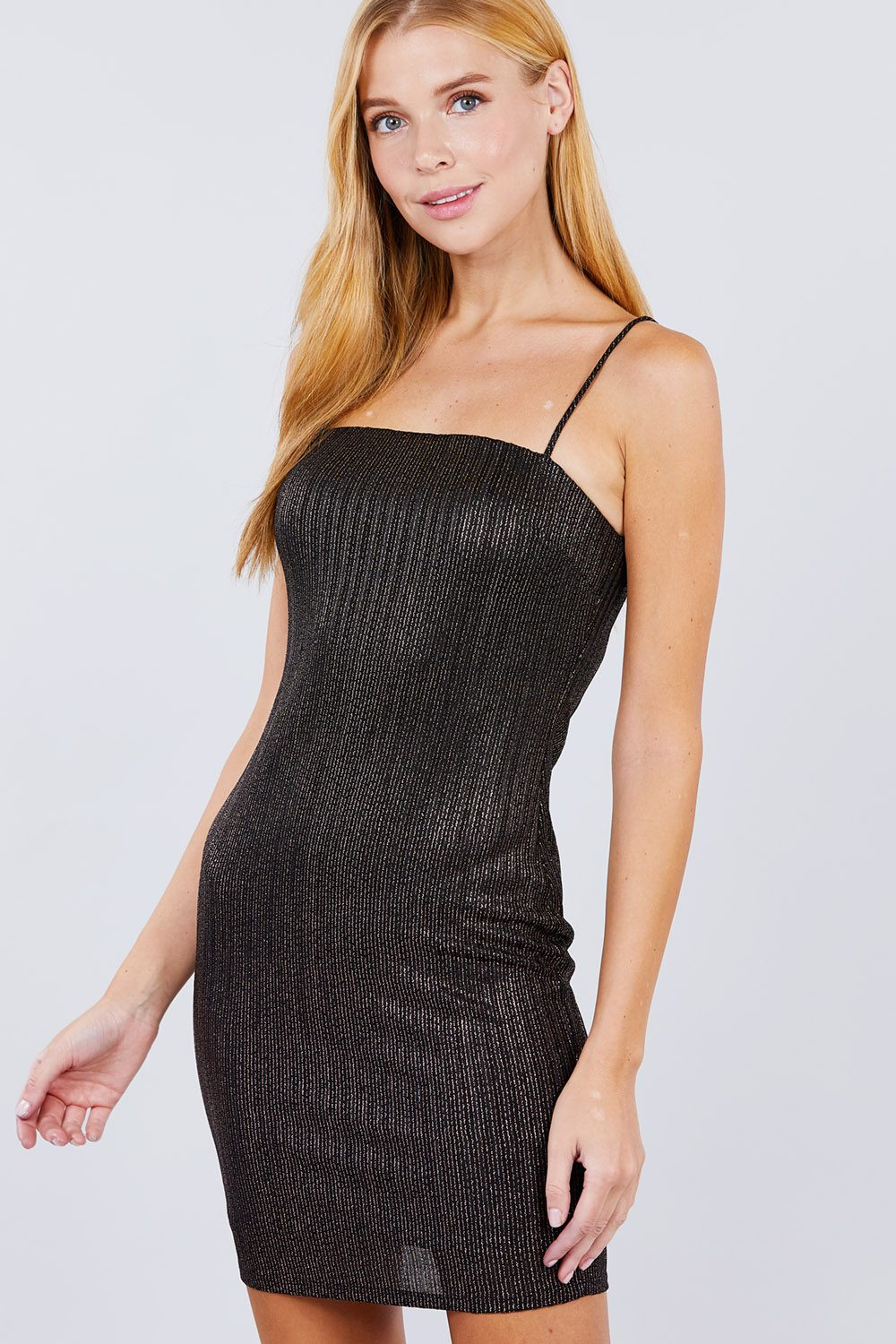 Black Dress - Cami Sparkle Mini Bodycon Dress - Local Scenes