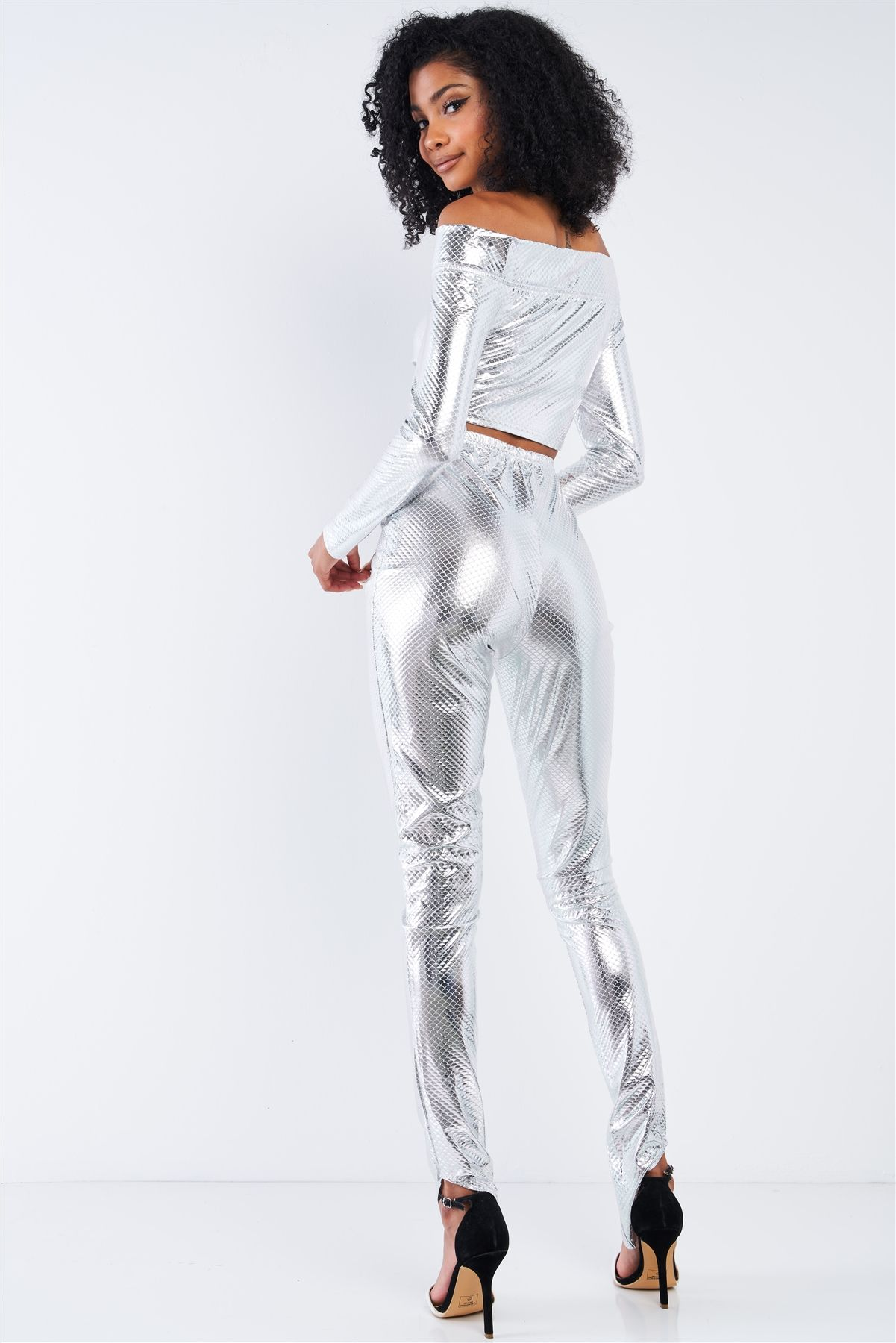 Pants Set - Metallic Small Scales Print Long Sleeve Off-the-shoulder Cropped Top And High Waist Slim Fit Legging Set - Local Scenes