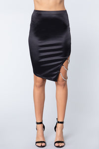 Skirt - Jewel Strap Satin Midi Skirt - Local Scenes