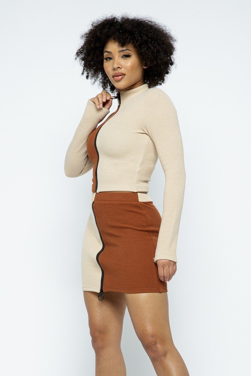 Skirt Set - Rib Color Block Mock Neck Long Sleeve High-waist Mini Skirt With Front Zipper Set - Local Scenes