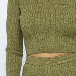 Two-Piece - Knit Long Sleeve Cropped Top Knit High-waist Biker Shorts Set - Local Scenes