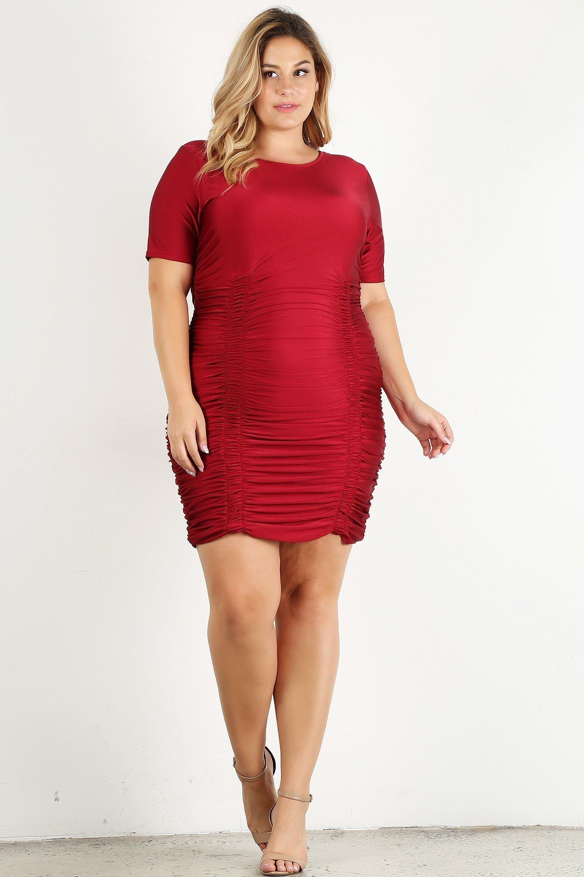Black Dress - Plus Size Solid Bodycon Mini Dress - Local Scenes