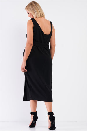 Black Dress - Plus Sleeveless Asymmetrical Shoulder Front Slit Detail Belted Dress - Local Scenes
