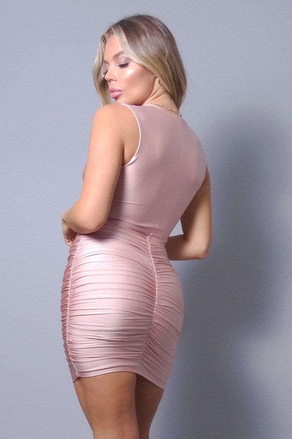 Pink Dress - Sleeveless Crossover Front Ruched Bodycon Mini Dress - Local Scenes