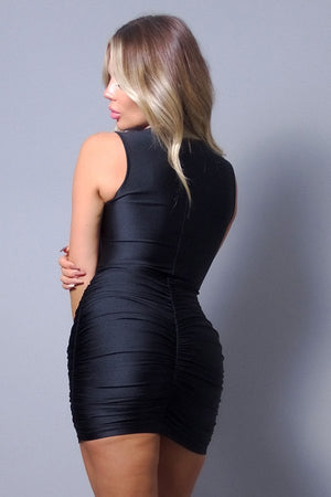 Black Dress - Sleeveless Crossover Front Ruched Bodycon Mini Dress - Local Scenes