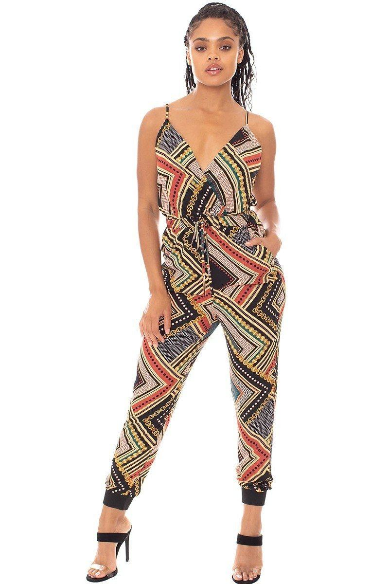 Jumpsuit - Boarder Print Wrap Drawstring Waist Jumpsuit - Local Scenes