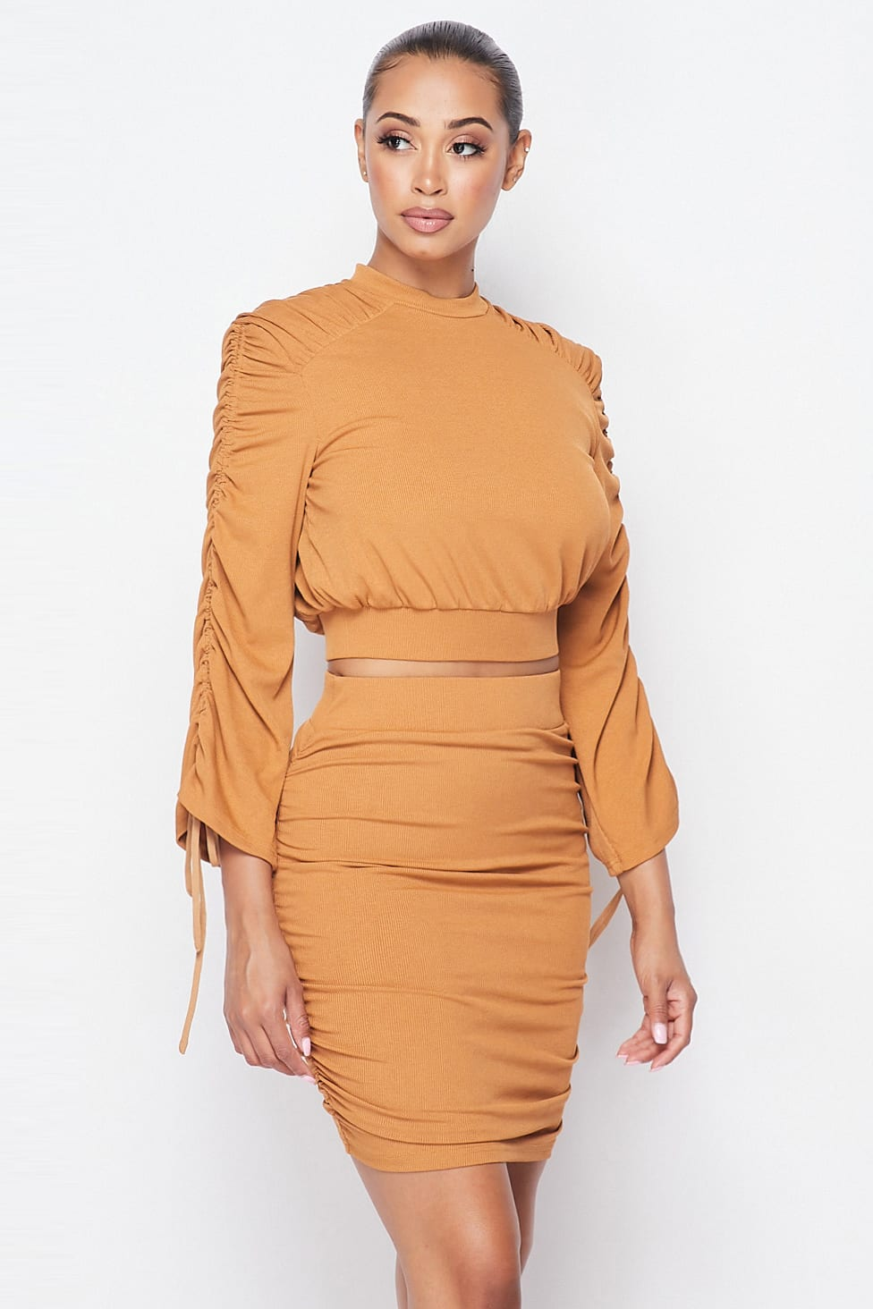 Two-Piece Ruched Long Sleeve And Skirt Set - Local Scenes Store
