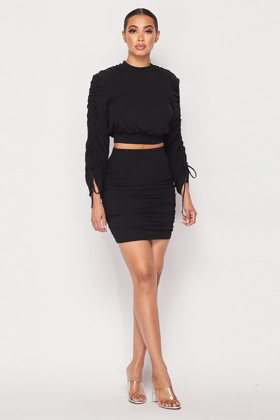 Two-Piece - Ruched Long Sleeve And Skirt Set - Local Scenes
