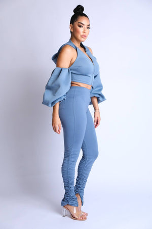 Two-Piece Puff Sleeve Hoodie Set - Local Scenes Store