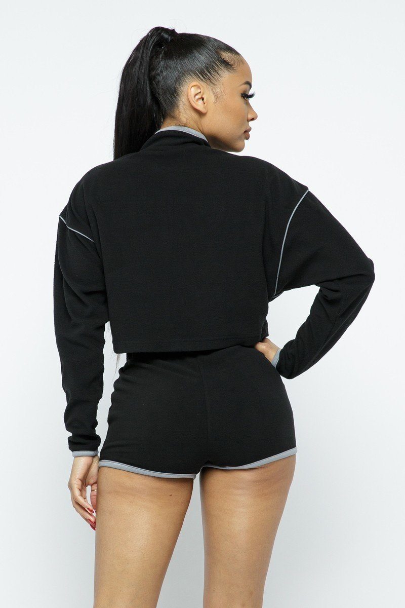 Two-Piece - Sporty Crop Top Sporty High-waist Shorts Set - Local Scenes