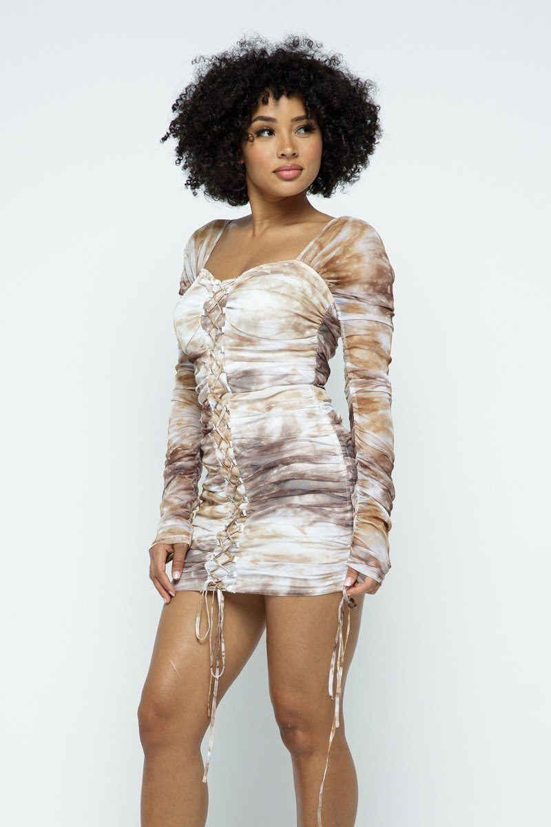 Print Dress - Tie Dyed Mesh Mini Dress W/ Lace Up Details - Local Scenes